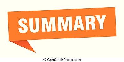 summary speech bubble. summary sign. summary banner