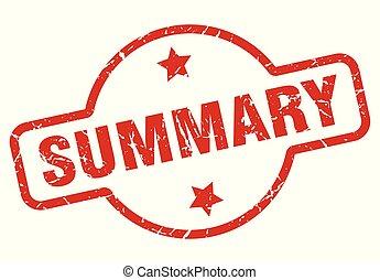 summary stamp isolated on white