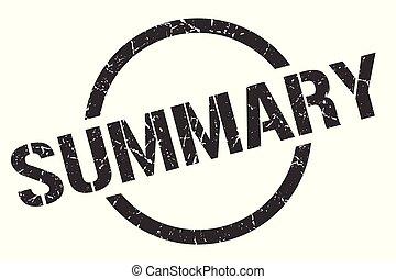 summary stamp - summary black round stamp