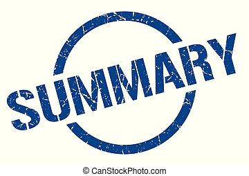 summary stamp - summary blue round stamp