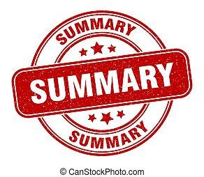 summary stamp. summary label. round grunge sign
