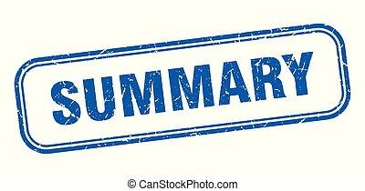 summary stamp. summary square grunge sign. summary