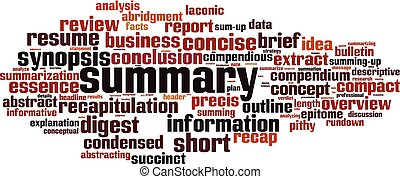 Summary word cloud concept. Collage made of words about ...