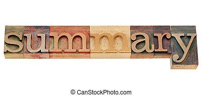 summary word in letterpress type - summary - isolated word...