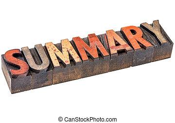 summary word in vintage wood type - summary word abstract -...