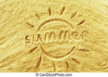 """summer"", άμμοs , λέξη , κίτρινο"