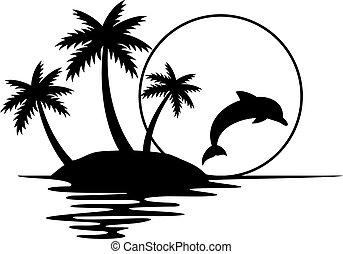 (summer, τροπικός , ηλιοβασίλεμα , design), εικόνα , δελφίνι , παλάμες , νησί