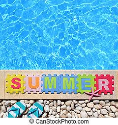 """""""summer"""", 作られた, 単語, 困惑, ジグソーパズル小片, プールサイド"""