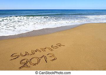 """""""summer, 2013"""", geschrieben, auf, sandiger strand"""