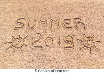 """Handwritten on the sand """"summer 2019"""""""