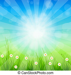 Summer Abstract Background with grass and tulips against sunny sky. Vector illustration.