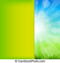Summer Abstract Background with grass and chamomile against sunny sky. Vector illustration.