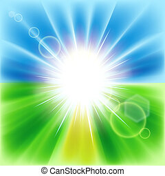 Summer abstract background with sunbeams. Vector...