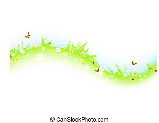summer abstract wavy meadow with flowers and butterflies
