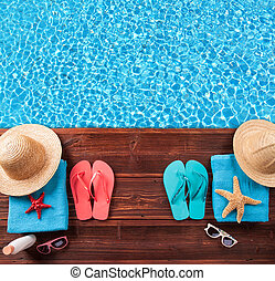 Summer accessories on wooden planks - Concept of summer ...