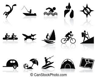 summer activities icons set - isolated summer activities...