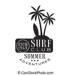 Summer adventure surf club estd 1969 logo template, black...