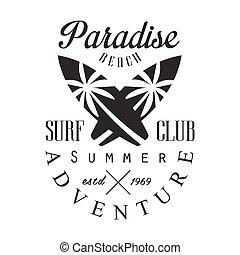 Summer adventure surf club estd 1969, paradise beach logo...