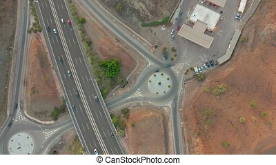 Summer aerial footage of transport junction, traffic cross...