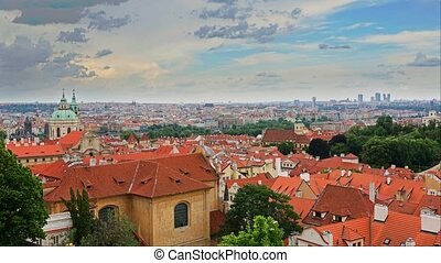Summer aerial timelapse view of the Old Town architecture with red roofs in Prague , Czech Republic.