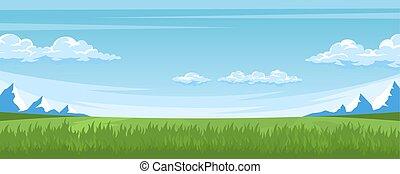 Summer alpine landscape - Cartoon illustration of summer...