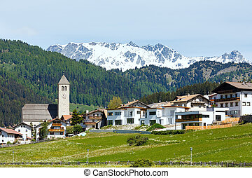Summer Alpine village view (Italy)