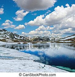 Summer Alps mountain lake, Switzerland