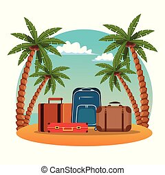 Summer and beach cartoon - Travel luggage in beachscape...