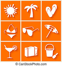 Summer and beach icons in flat style on orange background....