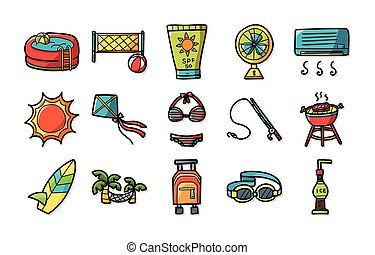 Summer and beach icons set,eps10