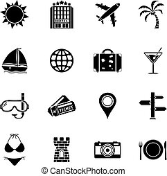 Summer and Beach Icons. Vacation Icon Set.