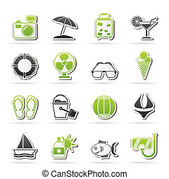 Summer and beach icons - vector icon set