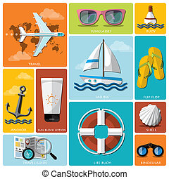 Summer And Travel Flat Icon Set