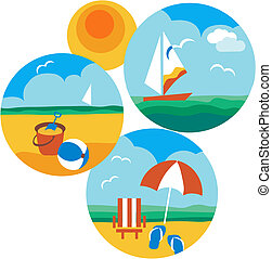 summer and travel icons of beach and sea , vector...