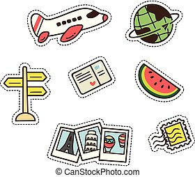 summer and travel themed cute patch isolated on white background