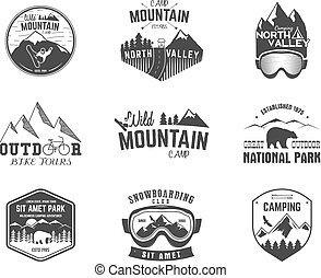 Summer and winter mountain explorer camp badge, logo label templates set. Travel, hiking, climbing style. Snowboard, ski patches. Bike stamp, campsite sign. For web, tee, print. Vector illustration
