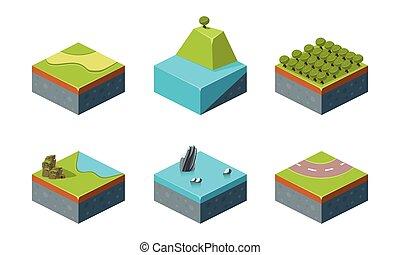 Summer and winter natural landscape set, game user interface platforms vector Illustration on a white background