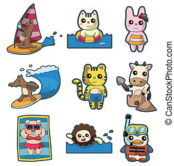 summer animal sport icon set