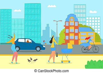 Summer at flat city street, vector illustration. Man woman people character at urban outdoor road, walk in park design. Town lifestyle, sport, walking