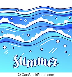 Summer at seaside. Stylized illustration of waves