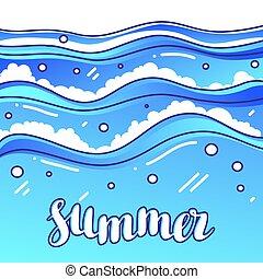 Summer at seaside. Stylized illustration of waves