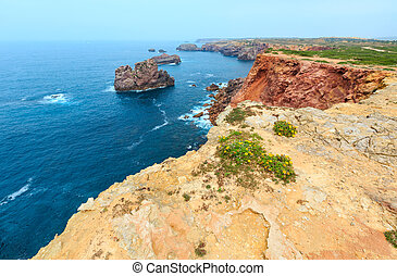 Summer Atlantic rocky coast (Algarve, Portugal). - Summer ...