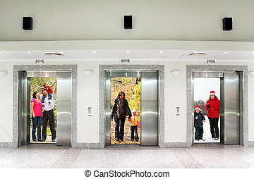 summer autumn winter family in Three elevator doors in corridor of office building collage