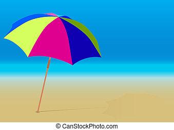 Summer Background - Beach Umbrella on Empty Sandy Beach