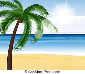 Summer background - Beautiful view on sunny day on the beach