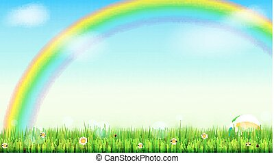 Summer background. Big bright rainbow above green field. Juicy grass, daisy flowers, ladybugs in grass on backdrop from blue sky with clouds. Landscape for design of banner, leaflet, card, ad poster