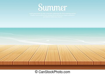 summer background blue sky with sea and wooden for display montages