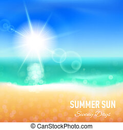 Summer background - Defocused summer background with beach...