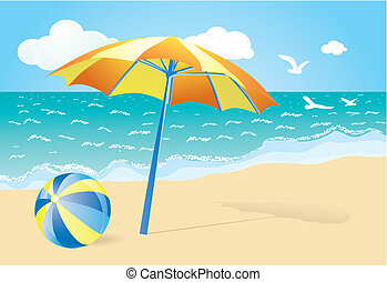 summer background with orange parasol