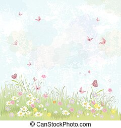 Summer background. floral meadow with pink butterflies.